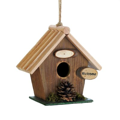 Pine Cone Rustic Wood 7 in x 8 in x 4 in Birdhouse