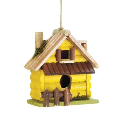 Log Home 7.5 in x 7.5 in x 4 in Birdhouse