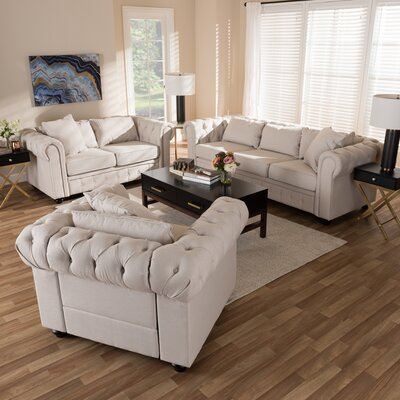 Smythe 3 Piece Living Room Set Upholstery: Beige