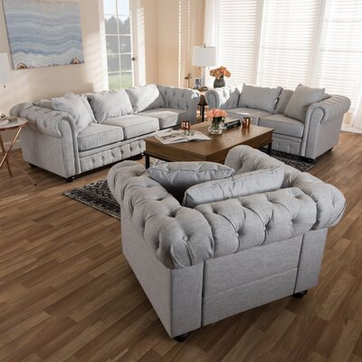 Smythe 3 Piece Living Room Set Upholstery: Gray