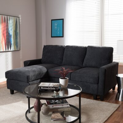 Iniguez Reversible Sectional Upholstery: Black
