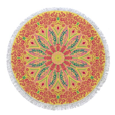 Rhiannon Round Beach Towel Color: Yellow/Pink