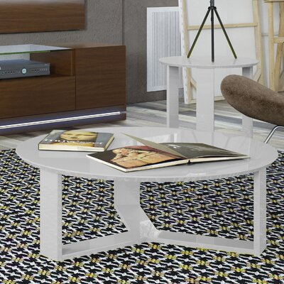 Madison Round Accent Coffee Table Color: White Gloss