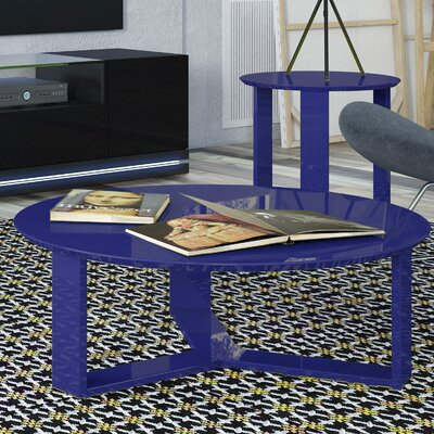 Madison Round Accent Coffee Table Color: Midnight Blue
