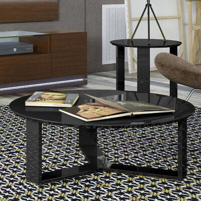 Madison Round Accent Coffee Table Color: Black Gloss