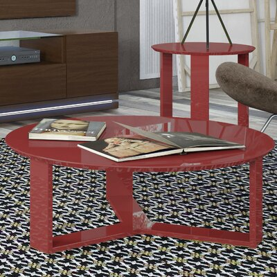 Madison Round Accent Coffee Table Color: Red Gloss