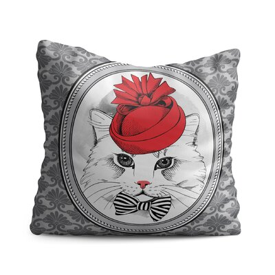 Bouldin Cat with Fancy Hat and Bow Tie Throw Pillow
