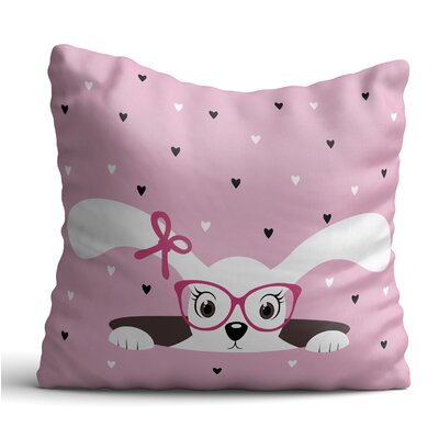 Hulett Sweet Dog with Pink Glasses and Hair Tape Throw Pillow
