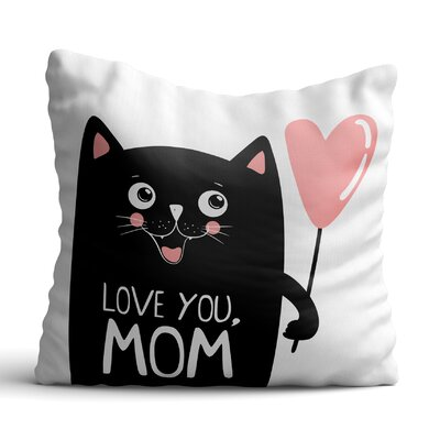 Huling Black Cat with Pink Ballon Throw Pillow