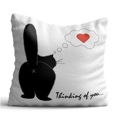 Back Black Cat Posture Throw Pillow