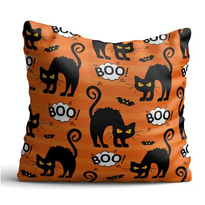 Everette Black Cats and Bats Throw Pillow
