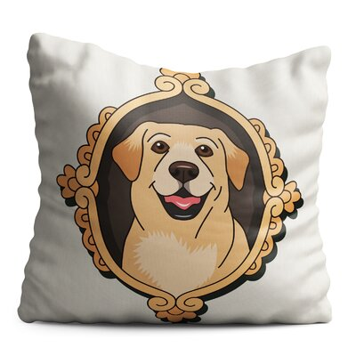 Bourgeois Sweet Dog Head on the Vintage Frame Throw Pillow