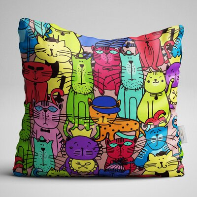 Bousquet Various Type of Colorful Cats Throw Pillow