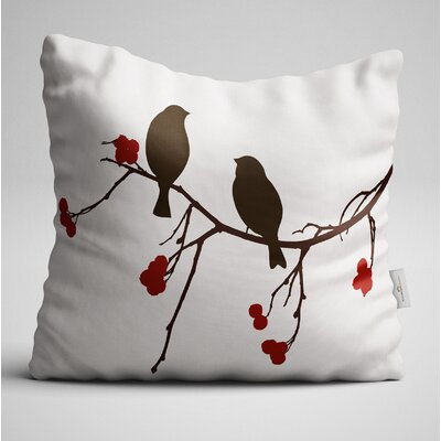 Clearman Brown Birds Shadow on the Branch Throw Pillow