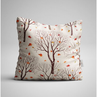 Cleasby Trees and Leaf on Autumn Throw Pillow