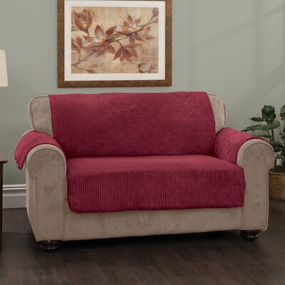 Plush Stripe Box Cushion Sofa Slipcover Upholstery: Burgundy