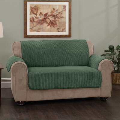 Plush Stripe Box Cushion Sofa Slipcover Upholstery: Hunter Green