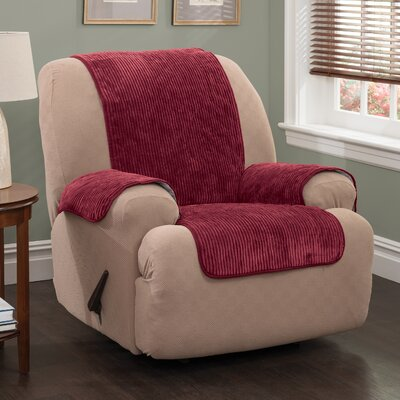 Plush Stripe T-Cushion Armchair Slipcover Upholstery: Burgundy