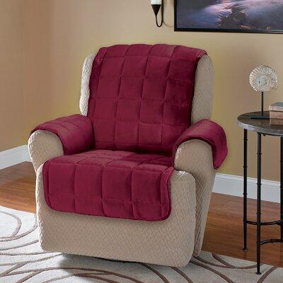 Burnham Protector T-Cushion Recliner Slipcover Upholstery: Burgundy