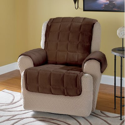 Burnham Protector T-Cushion Recliner Slipcover Upholstery: Chocolate
