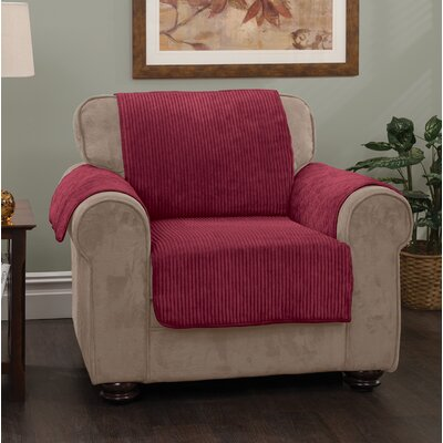 Burnham Stripe Protector T-Cushion Armchair Slipcover Upholstery: Burgundy