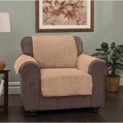 Burnham Stripe Protector T-Cushion Armchair Slipcover Upholstery: Camel