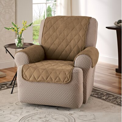 Faux Suede T-Cushion Recliner Slipcover Upholstery: Camel