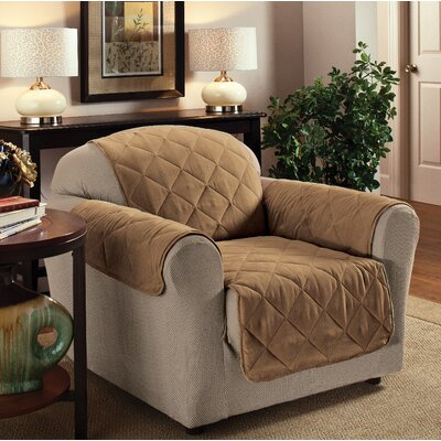 Pet Club Box Cushion Armchair Slipcover Upholstery: Camel