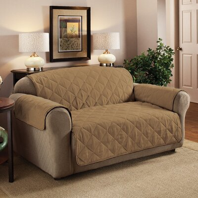 Pet Box Cushion Loveseat Slipcover Upholstery: Camel