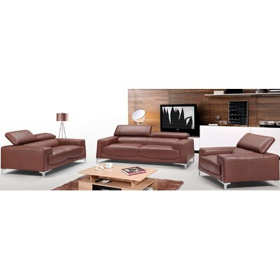 Tipton Modern Saddle 3 Piece Leather Living Room Set