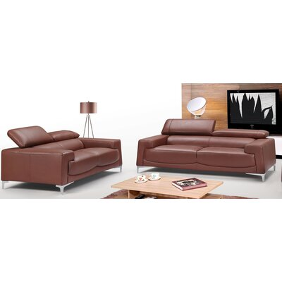 Tipton Modern Saddle 2 Piece Leather Living Room Set