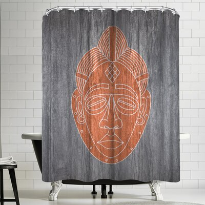 Ikonolexi African Mask Black Shower Curtain Color: Silver/Venetian-Red/Copper
