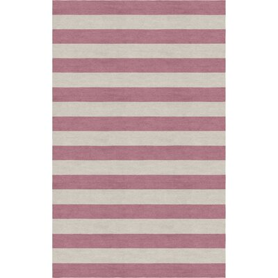 Mcleod Stripe Hand-Woven Wool Silver/Purple Area Rug Rug Size: 8 x 10