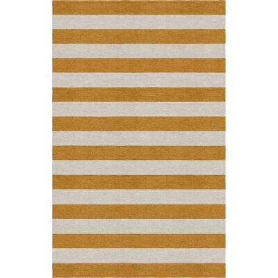 Mcleroy Stripe Hand-Woven Wool Silver/Light Brown Area Rug Rug Size: 5 x 8