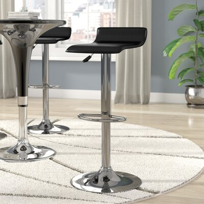 Crofts Adjustable Height Swivel Bar Stool Upholstery: Black