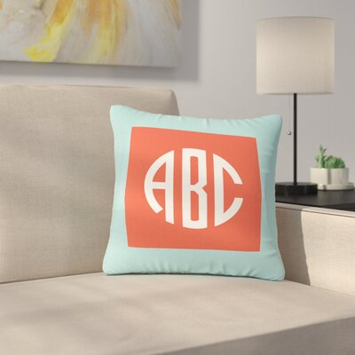 Classic Monogram Outdoor Throw Pillow Size: 18 H x 18 W x 5 D, Color: Teal