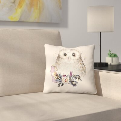 Boho Flower and Owl Throw Pillow Size: 20 x 20