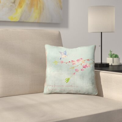 Spring Bird Sakura and Cherry Blossom Throw Pillow Size: 20 x 20
