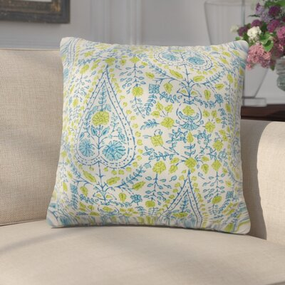 Zyra Down Filled 100% Cotton Throw Pillow Size: 24 x 24, Color: Aqua Green