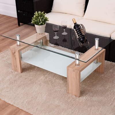 Wiechmann Rectangular Tempered Glass Coffee Table Color: Beige