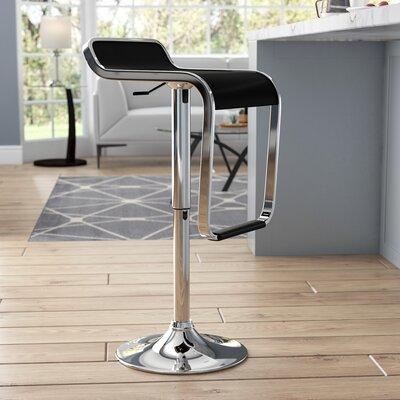 Klingbeil Adjustable Height Swivel Bar Stool Upholstery: Black