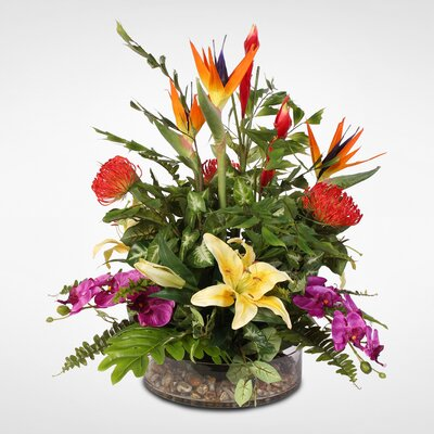 Exotic Tropical Silk Mixed Floral Arrangement in Glass Bowl 39077932597C484AB720B34203E2F209