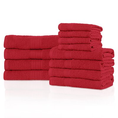 Kellerman Eco-Friendly 12 Piece Towel Set Color: Cranberry