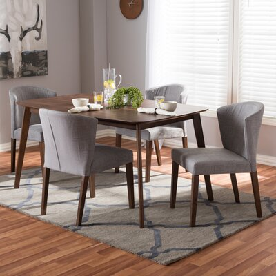 Dingler Mid-Century Wood 5 Piece Dining Set Chair Color: Gray