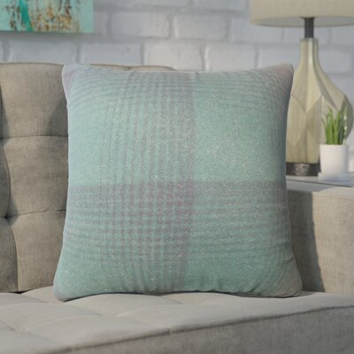 Wigginton Plaid Down Filled Velvet Throw Pillow Size: 24 x 24, Color: Green