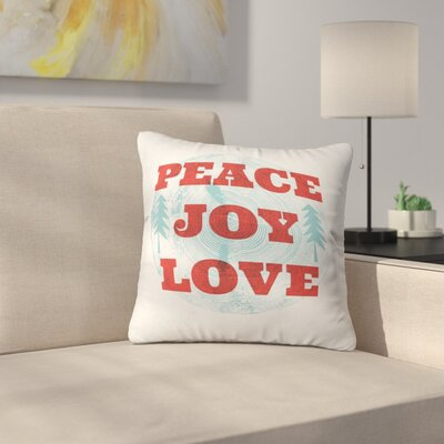 Heather Dutton Peace Joy Love Woodcut Throw Pillow Size: 20 x 20