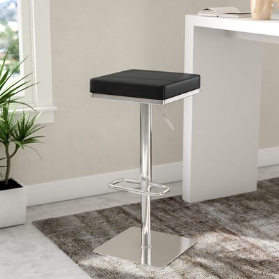 Critchfield Adjustable Height Swivel Bar Stool Upholstery: Black