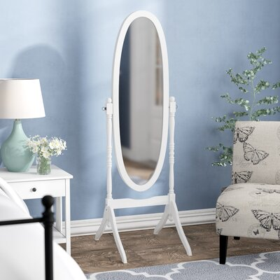 Oval Wood Floor Mirror Finish: White