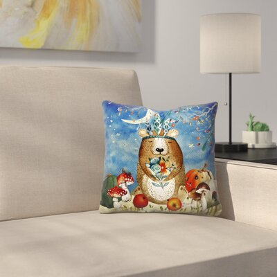 Sleepy Bear in Autumnal Forest Throw Pillow Size: 18 x 18