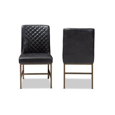 Solar Upholstered Dining Chair Upholstery Color: Black